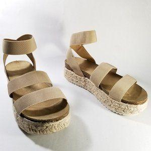 Espirit Nude Strappy Platform Espadrille Sandals